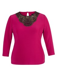Chesca Fuschia Embellished Top With 3 4 Sleeves Fuchsia