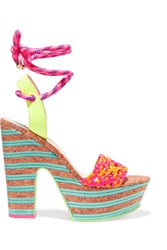 Sophia Webster Jade Neon Leather And Cork Platform Sandals Pink
