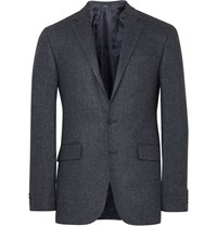 Polo Ralph Lauren Blue Slim Fit Herringbone Wool And Silk Blend Blazer Navy