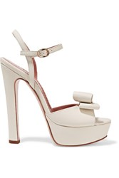 Red Valentino Redvalentino Embellished Leather Platform Sandals Ivory