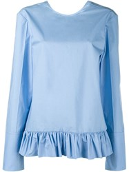 Marni Long Sleeve Ruffle Shirt Blue
