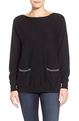 Petite Women's Vince Camuto Colorblock Boatneck Sweater Rich Black