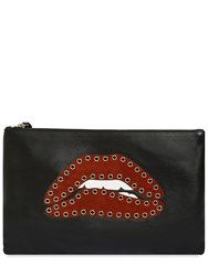 Red Valentino Eyelet Lips Leather And Suede Pouch