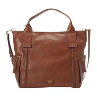 Fossil Emerson Leather Satchel Brown