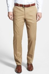 Wallin And Bros 'Bedford' Flat Front Stretch Cotton Trousers Beige