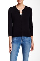 Cable And Gauge Crew Cardigan Petite Black