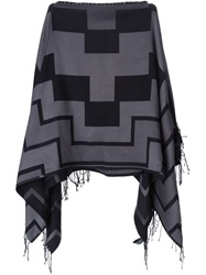 Marcelo Burlon County Of Milan Colour Block Poncho Scarf Black