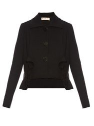 Marni Cropped Cotton Blend Crepe Tailored Jacket Black