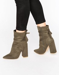 Missguided Wrap Around Block Heel Ankle Boots Khaki Green