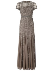 Adrianna Papell Petite Short Sleeve Beaded Godet Gown Lead