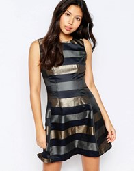 Ax Paris Metallic Stripe Skater Dress Navy