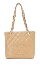 Wgaca Chanel Cc Small Tote Previously Owned Beige