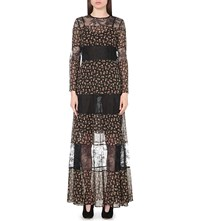 Philosophy Panelled Floral Print And Floral Lace Maxi Dress Black