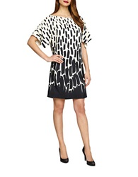 Tahari Arthur S. Levine Abstract Print Kimono Sleeve Dress Ivory White Black