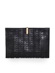 The Row Woven Topstitch Clutch Black