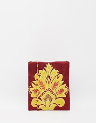 Moyna Cross Body Bag In Oxblood With Gold Applique Winegold