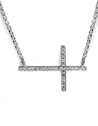 Effy Pave Classica 14Kt White Gold Diamond East West Cross Necklace