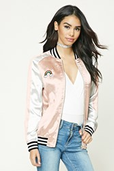 Forever 21 Arise Graphic Satin Jacket Pink Cream