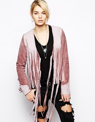 One Teaspoon Suede Fringed Jacket In Pink Mauve