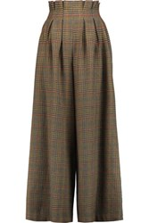 Stella Jean Houndstooth Wool Wide Leg Pants Brown