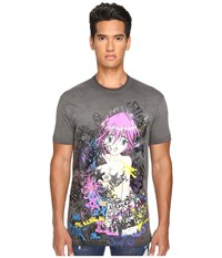 Dsquared Long Cool Fit Punk Manga Gang T Shirt Dark Grey Men's T Shirt Gray