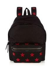 Saint Laurent Star Applique Canvas Backpack Black Multi
