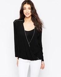 See U Soon Wrap Front Blouse With Metallic Piping Black
