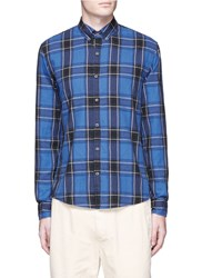 Scotch And Soda Tartan Plaid Cotton Flannel Shirt Blue