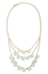 Junior Women's Bp. Layered Round Stone Statement Necklace Turquoise Gold