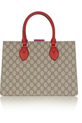 Gucci Linea A Small Leather Trimmed Monogrammed Coated Canvas Tote