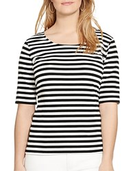 Lauren Ralph Lauren Plus Striped Scoop Neck Tee Black White