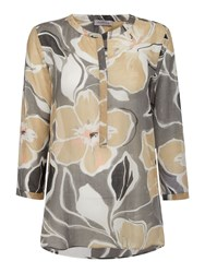 Marella Trudy Floral Long Sleeve Blouse Beige