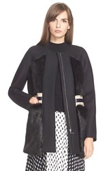 Women's Tanya Taylor 'Fred' Faux Fur Detail Coat Black Black