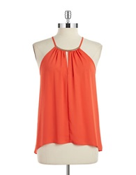 Design Lab Lord And Taylor Handkerchief Hem Halter Top Bright Orange