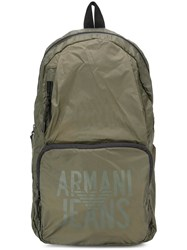 Armani Jeans Logo Print Backpack Green
