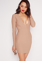 Missguided Textured Long Sleeve Plunge Bodycon Dress Taupe Grey