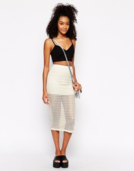 Motel Bobby Midi Skirt In Stripe Net Ivory