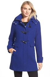 Petite Women's Ellen Tracy Toggle Wool Blend Twill Duffle Coat Cobalt
