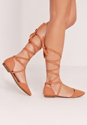 Missguided D'orsay Ballerina Tie Ankle Strap Shoe Pink Pink