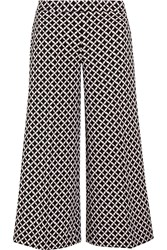 Michael Michael Kors Cropped Printed Stretch Crepe Culottes Black