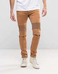 Sixth June Skinny Biker Jeans With Ripped Knees Camel Tan