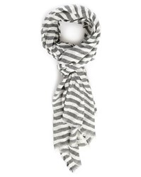 Selected Grey White Striped Curtis Scarf