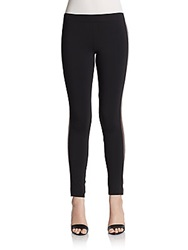 Dl David Lerner Metallic Leather Tuxedo Stripe Leggings Black Gunmetal