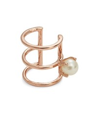 Bing Bang Delicate Faux Pearl Accented Ear Cuff Rose Gold