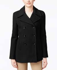 Calvin Klein Petite Wool Cashmere Blend Double Breasted Peacoat Black