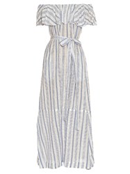 Lisa Marie Fernandez Mira Off The Shoulder Striped Maxi Dress Blue Stripe