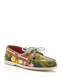 Sperry Authentic Original 2 Eye Floral Boat Shoes Green