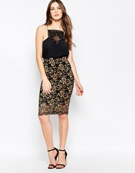 Ganni Christy Lace Midi Skirt In Black And Gold Blackgold