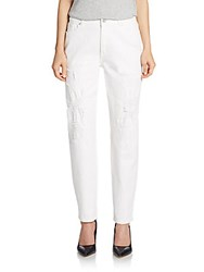 Elie Tahari Ryan Distressed Boyfriend Jeans Optic White