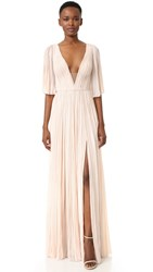 J. Mendel Deep V Neck Pleated Gown Blush
